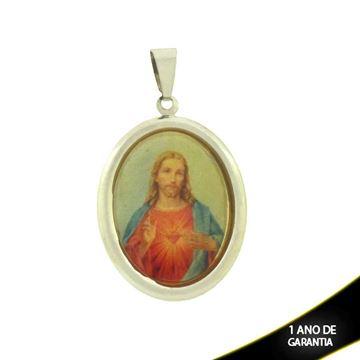 Imagem de Pingente Aço Inox Sagrado Coração de Jesus Cristo - 0300011