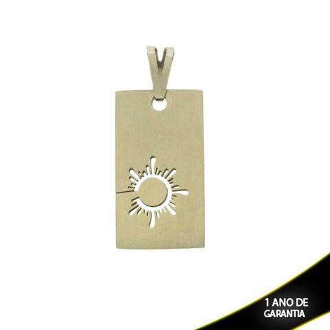 Imagem de Pingente Aço Inox Placa com Desenho de Sol Vazado - 0301598