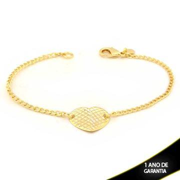 Imagem de Pulseira Feminina Coração Fosco e Diamantado 18cm - 0503680