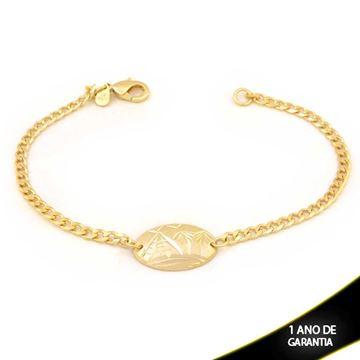 Imagem de Pulseira Feminina Placa Oval Escrava Fosca e Diamantada 19cm  - 0503678