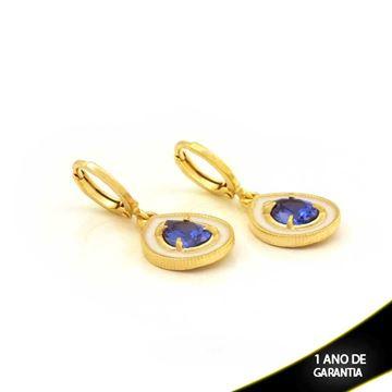 Imagem de Brinco Argola Gota com Pedra Azul e Resina Branca - 0211655