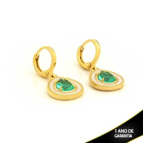 Imagem de Brinco Argola Gota com Pedra Verde e Resina Branca - 0211655