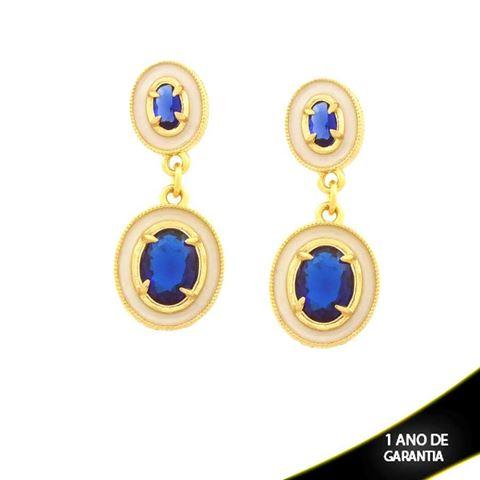 Imagem de Brinco Duas Peças Oval com Pedra Azul e Resina Branca - 0211656