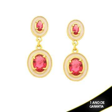 Imagem de Brinco Duas Peças Oval com Pedra Rosa e Resina Branca - 0211656