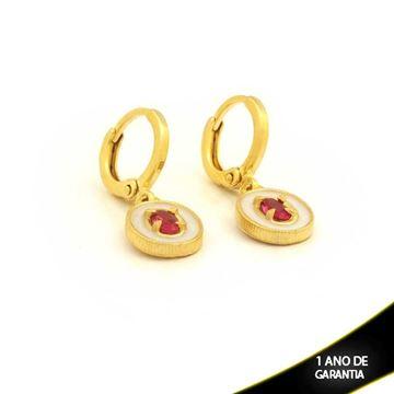 Imagem de Brinco Oval com Pedra Rosa e Resina Branca - 0211652