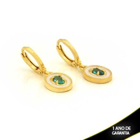 Imagem de Brinco Oval com Pedra Verde e Resina Branca - 0211652