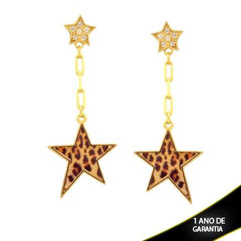 Imagem de Brinco Duas Estrelas com Zircônias e Resina de Estampa Leopardo - 0211660
