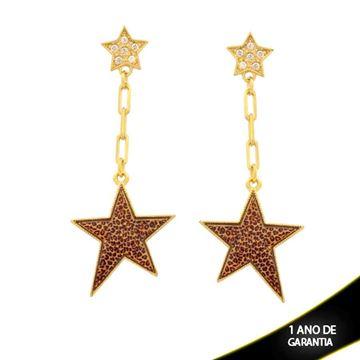 Imagem de Brinco Duas Estrelas com Zircônias e Resina de Estampa Oncinha - 0211660