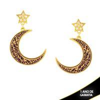 Imagem de Brinco Grande Estrela com Zircônia e Lua com Resina Estampa Leopardo - 0211663