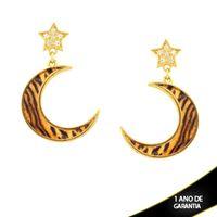Imagem de Brinco Grande Estrela com Zircônia e Lua com Resina Estampa Tigre - 0211663