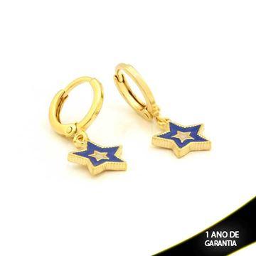 Imagem de Brinco Argola Estrela com Resina Branca e Azul - 0211651