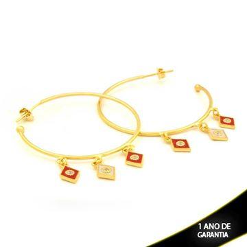 Imagem de Brinco Grande Argola Losangos com Zircônia e Resina Branca e Vermelha - 0211658