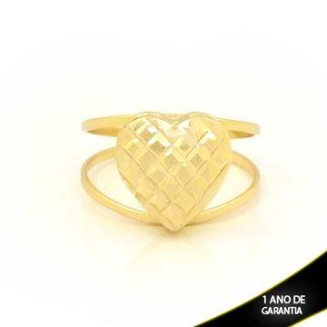 Imagem de Anel Coração Fosco e Diamantado - 0104768