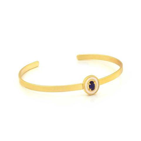Imagem de Pulseira Bracelete Infantil com Resina Branca e Pedra Azul - 0503708