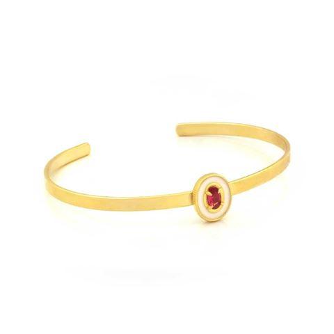 Imagem de Pulseira Bracelete Infantil com Resina Branca e Pedra Rosa - 0503708
