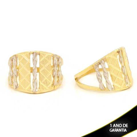 Imagem de Anel Trabalhado Fosco e Diamantado com Aplique de Ródio - 0104781