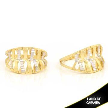 Imagem de Anel Vazado Fosco e Diamantado com Aplique de Ródio - 0104778