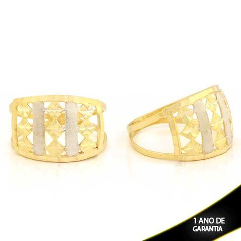 Imagem de Anel Vazado Fosco e Diamantado com Aplique de Ródio - 0104769
