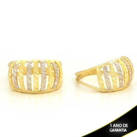 Imagem de Anel Vazado Fosco e Diamantado com Aplique de Ródio - 0104775