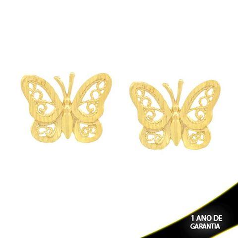 Imagem de Brinco Borboleta Trabalhado Vazado e Diamantado - 0211715