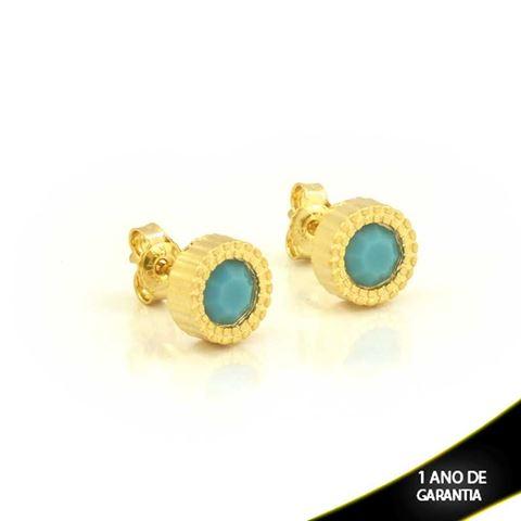 Imagem de Brinco Redondo Pedra Azul - 0211372