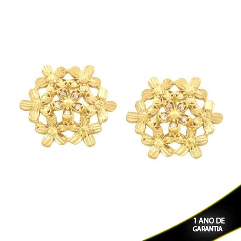 Imagem de Brinco Flor Diamantado Trabalhado com Pedras de Zircônia - 0211702