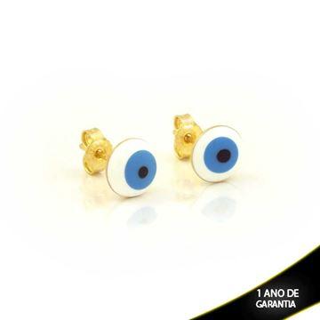 Imagem de Brinco Olho Grego Branco e Azul Claro - 0211729
