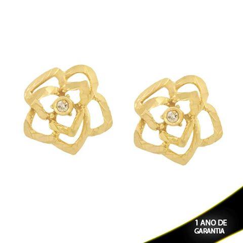 Imagem de Brinco Flor Diamantado Trabalhado com Pedra de Zircônia - 0211701