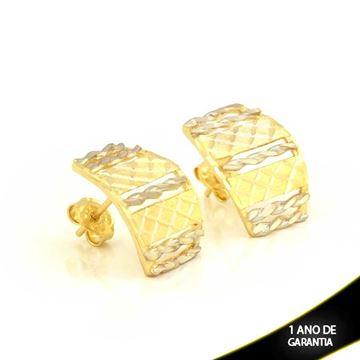 Imagem de Brinco Fosco e Diamantado com Aplique de Ródio - 0211718