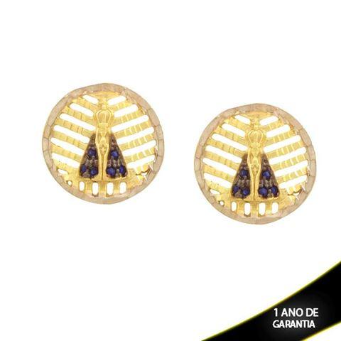 Imagem de Brinco Redondo Nossa Senhora Aparecida Diamantado com Zircônias e Aplique de Ródio - 0211712