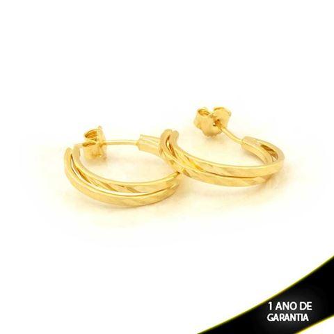 Imagem de Brinco Argola Dupla Diamantada dos Lados - 0210990