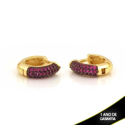Imagem de Brinco Argola para Cartilagem com Zircônias Pink - 0211775