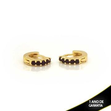 Imagem de Brinco Argola para Cartilagem com Cinco Zircônias Preto - 0211770
