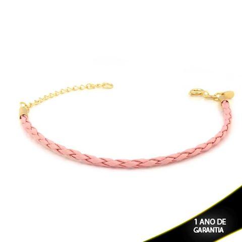 Imagem de Pulseira Feminina Couro para Berloques Rosa 16cm Mais 4cm de Extensor - 0503709