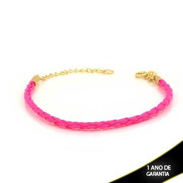 Imagem de Pulseira Feminina Couro para Berloques Pink 16cm Mais 4cm de Extensor - 0503709
