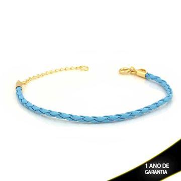 Imagem de Pulseira Feminina Couro para Berloques Azul 16cm Mais 4cm de Extensor - 0503709