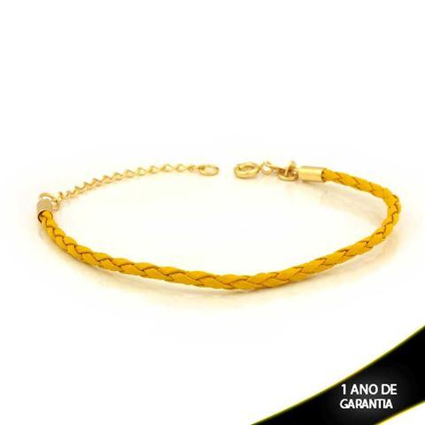Imagem de Pulseira Feminina Couro para Berloques Amarelo 16cm Mais 4cm de Extensor - 0503709