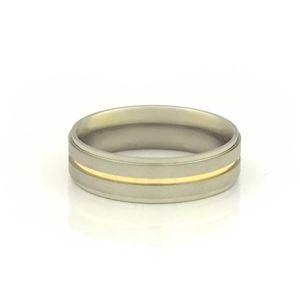 Imagem de Aliança de Compromisso Aço Inox com Filete de Ouro 6mm - 0104851