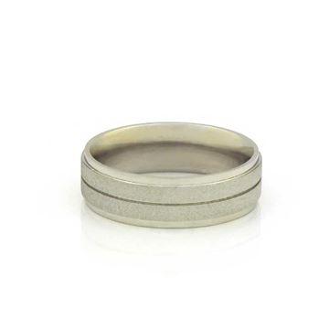 Imagem de Aliança de Compromisso Aço Inox Fosco com Três Filetes Lisos 6mm - 0104850