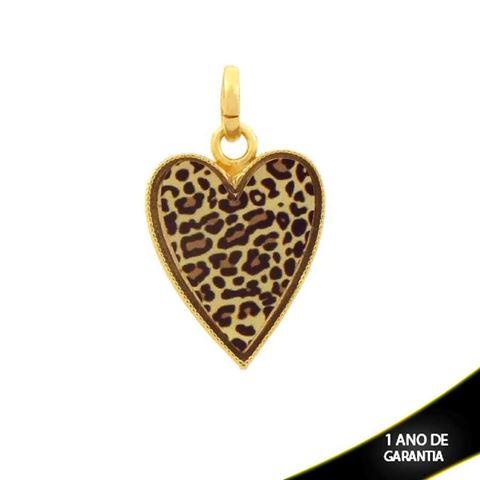 Imagem de Pingente Coração com Resina Estampa Leopardo - 0304344