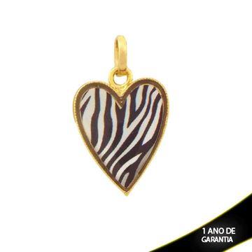 Imagem de Pingente Coração com Resina Estampa Zebra - 0304344