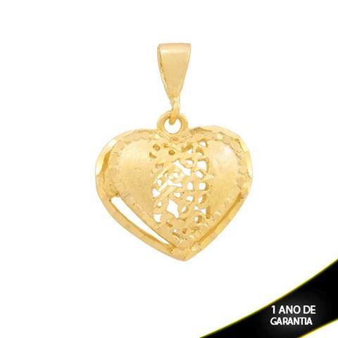 Imagem de Pingente Coração Fosco e Diamantado Vazado - 0304376