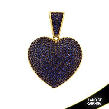 Imagem de Pingente Coração Trabalhado com Zircônias e Aplique de Ródio Azul - 0304207