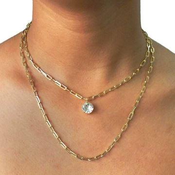 Imagem de Corrente Feminina Dupla Diamantada Com Pedra de Strass - 0403300