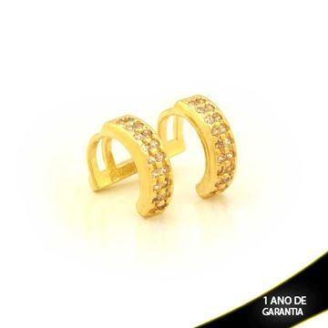 Imagem de Brinco Piercing de Pressão com Duas Fileiras de Zircônias - 0211806
