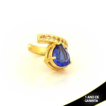 Imagem de Brinco Piercing de Pressão com Zircônias e Gota de Pedra Azul - 0211812