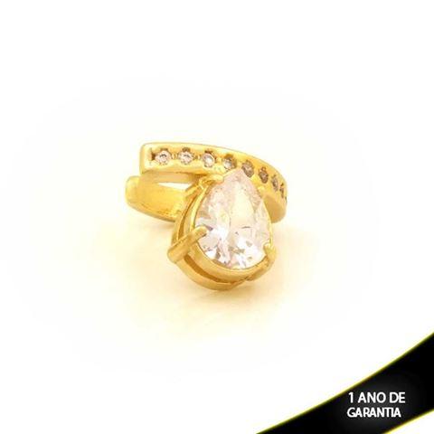 Imagem de Brinco Piercing de Pressão com Zircônias e Gota de Pedra Branco - 0211812