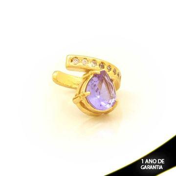 Imagem de Brinco Piercing de Pressão com Zircônias e Gota de Pedra Roxo - 0211812