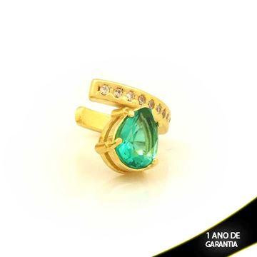 Imagem de Brinco Piercing de Pressão com Zircônias e Gota de Pedra Verde - 0211812