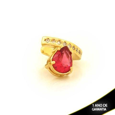 Imagem de Brinco Piercing de Pressão com Zircônias e Gota de Pedra Pink - 0211812